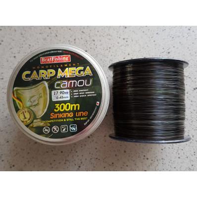 Леска рыболовная BratFishing carp mega camou 300 м 0,45 мм