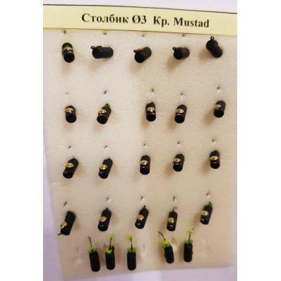 Мормышка вольфрам столбик d3 кр. Mustad вес 1 г